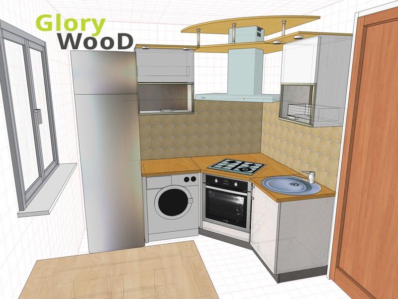 Кухня на 5 квм дизайн с холодильником